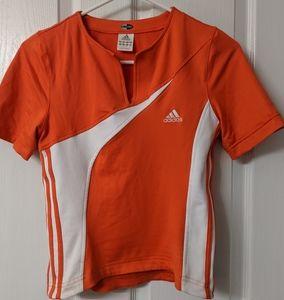 Orange and White Adidas top